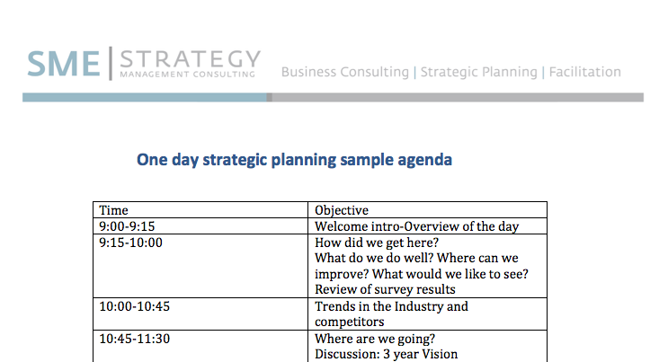 One Day Strategic Planning Meeting - Sample Agenda
